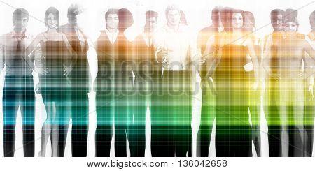 Management Team and Leader of a Group of Businessmen 3D Illustration Render