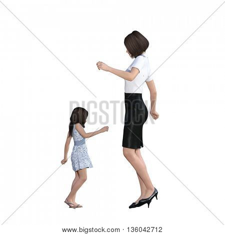 Mother Daughter Interaction of Dancing Together as an Illustration Concept 3D Illustration Render