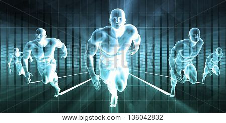 Winning Strategy in a Business Race to Success 3D Illustration Render