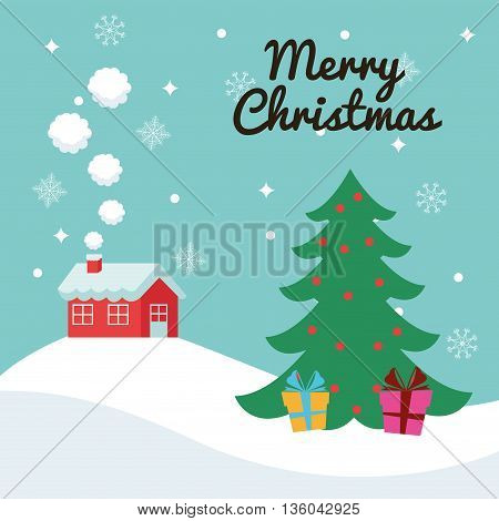 Merry Christmas concept represented by house and pine tree with gifts icon. Colorfull illustration and Blue background