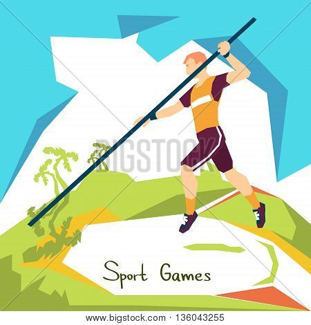 Pole Vaulting Sport Competition Flat Vector Illustration