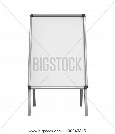 Sidewalk Blank Whiteboard isolated on white background. 3D render