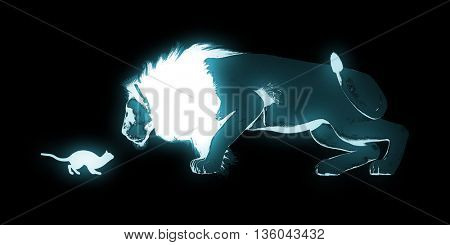 Bravery Concept with Cat and Lion Art 3d Illustration Render