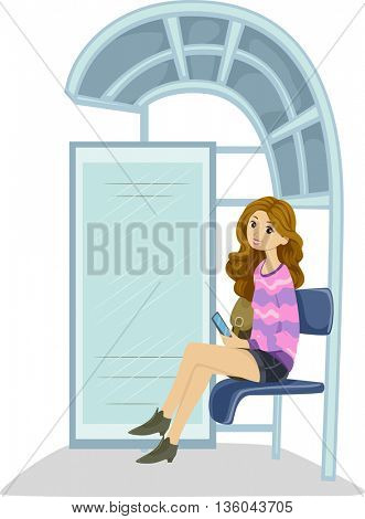 Illustration of a Teenage Girl Waiting at the Bus Stop