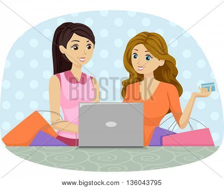 Illustration of Teenage Girls Buying from an Online Shop