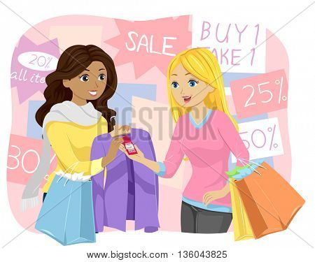 Illustration of a Teenage Girl Buying a Discounted Shirt
