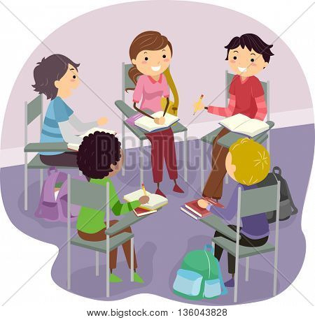Stickman Illustration of Teens Studying Together