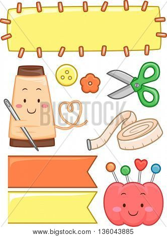Illustration Featuring Different Sewing Elements