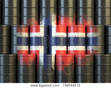Oil fuel of Norway energy concept. Norwegian flag painted on oil barrels. 3d illustration