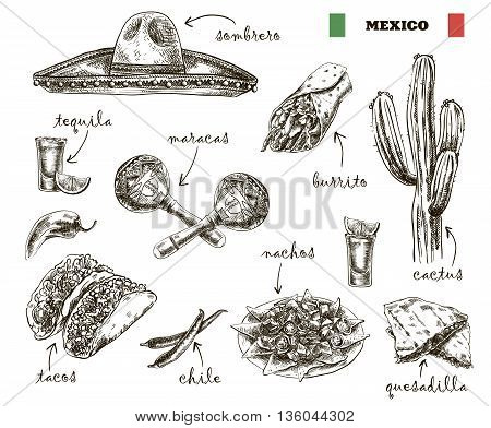 hand drawn sketches of cuisine and souvenirs of Mexico on a white background