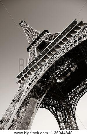 Eiffel Tower closeup view as the famous city landmark in Paris