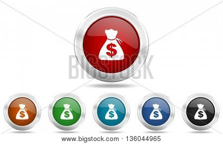 money round glossy icon set, colored circle metallic design internet buttons