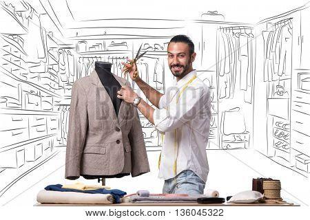 Man tailor working in his studio