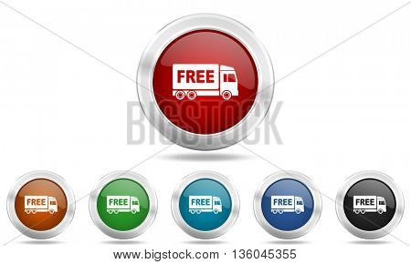 free delivery round glossy icon set, colored circle metallic design internet buttons