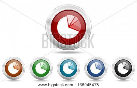 diagram round glossy icon set, colored circle metallic design internet buttons