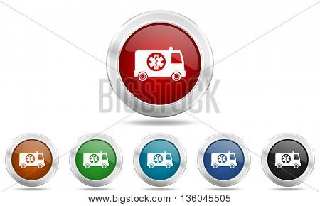 ambulance round glossy icon set, colored circle metallic design internet buttons