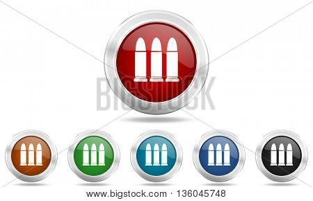 ammunition round glossy icon set, colored circle metallic design internet buttons