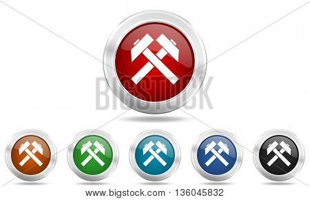 mining round glossy icon set, colored circle metallic design internet buttons