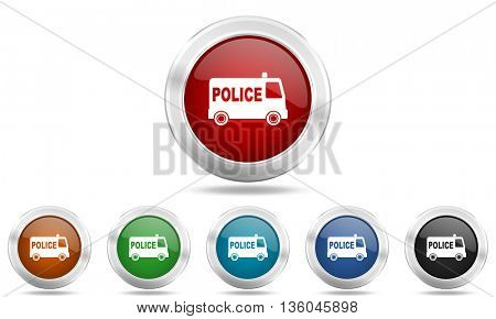 police round glossy icon set, colored circle metallic design internet buttons