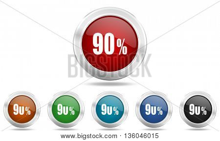 90 percent round glossy icon set, colored circle metallic design internet buttons