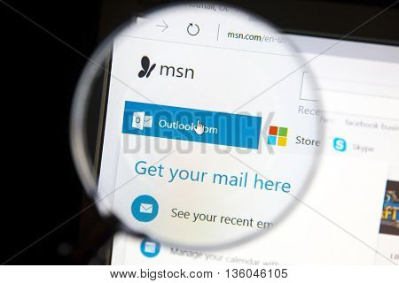 Ostersund, Sweden - June 27, 2016: Msn website under a magnifying glass. Msn  is a web portal and related collection of Internet services and apps for Windows provided by Microsoft