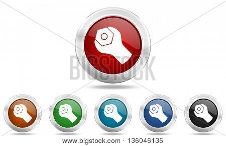 tools round glossy icon set, colored circle metallic design internet buttons
