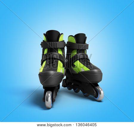 Inline Rollers Skates 3D Render On Gradient Backgrownd