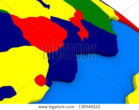 Mozambique And Zimbabwe On Colorful 3D Globe