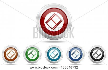 film round glossy icon set, colored circle metallic design internet buttons
