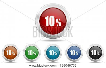 10 percent round glossy icon set, colored circle metallic design internet buttons