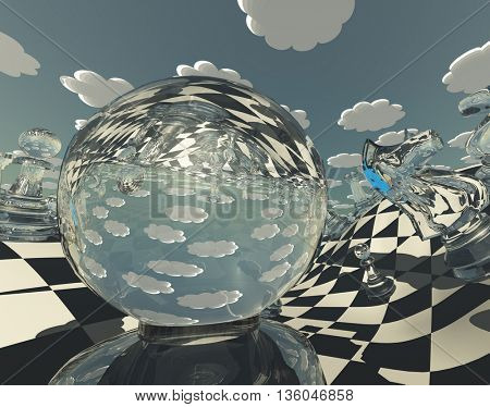 abstract illustration of chess figures at play 3D Render