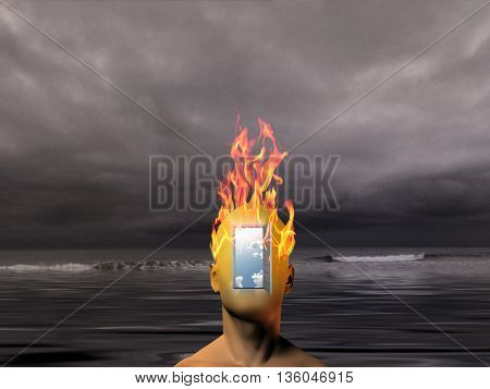 Burning human head with dark sea background 3D Render