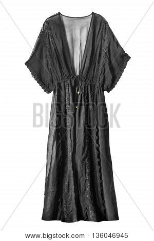 Black lacy dressing gown isolated over white