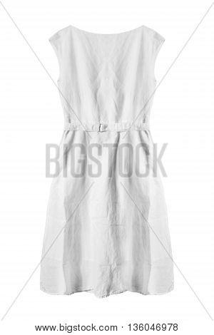 Basic white linen dress on white background