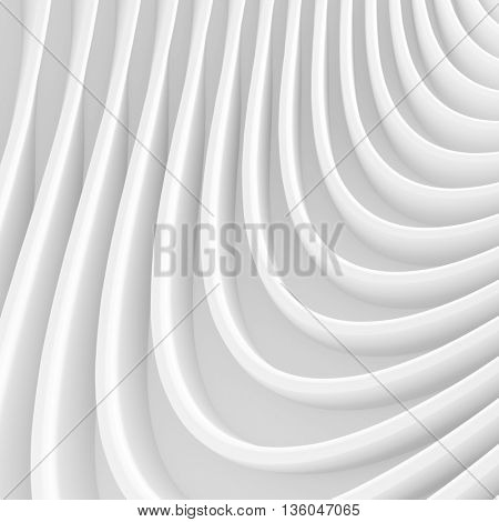 Abstract Architecture Background. White Wave Wallpaper. 3d Rendering Image. Minimal Geometric Design