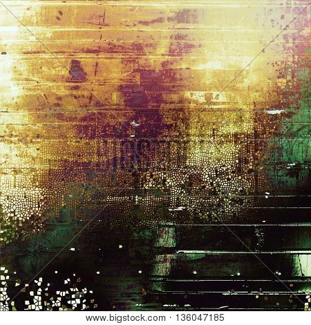 Vintage texture, old style frame decoration with grunge graphic elements and different color patterns: yellow (beige); brown; green; red (orange); purple (violet); black
