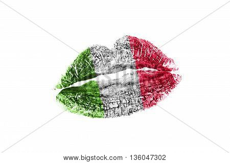 Kiss mark in italian flag colors isolated over white