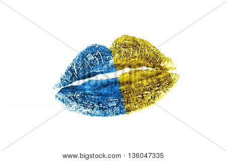 Kiss mark in ukraine flag colors isolated over white