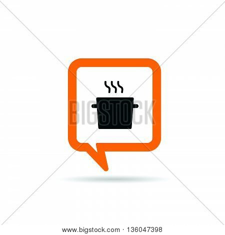 Square Orange Speech Bubble With Cooking Pot Icon