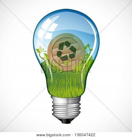 Illustration of a bulb with recycling elements inside