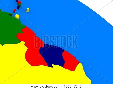 Guyana And Suriname  On Colorful 3D Globe