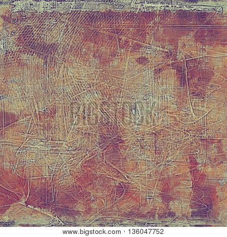 Antique frame or background with vintage feeling. Aged texture with different color patterns: yellow (beige); brown; gray; red (orange); purple (violet); pink