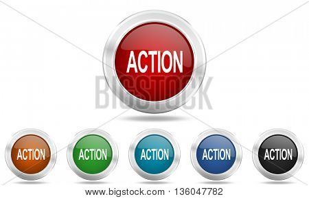 action round glossy icon set, colored circle metallic design internet buttons