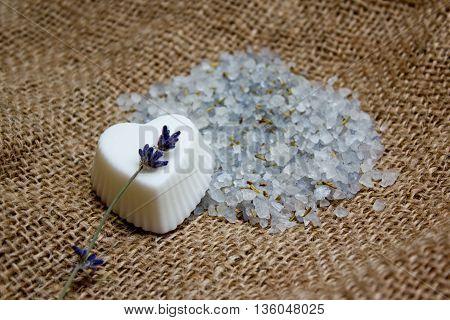Heart Soap, Lavender Twig And Bath Salt On Jute Underlay