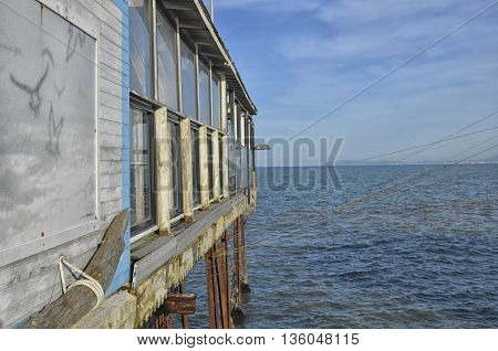 View of stilt house on the Mediterranean Sea