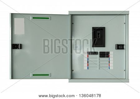 Close Up Control Box Open On Isolated With Clipping Path.
