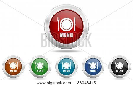 menu round glossy icon set, colored circle metallic design internet buttons