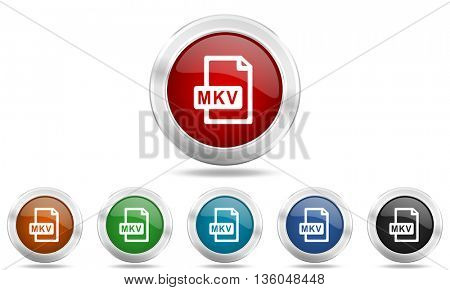 mkv file round glossy icon set, colored circle metallic design internet buttons