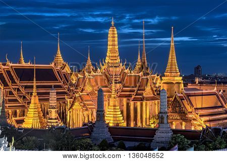 Wat Phra Kaew Temple of the Emerald BuddhaGrand palace at twilight in Bangkok Thailand