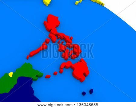 Philippines On Colorful 3D Globe